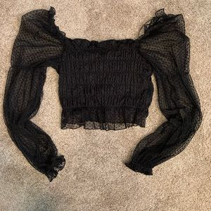 Black Tube Top with Sleeves